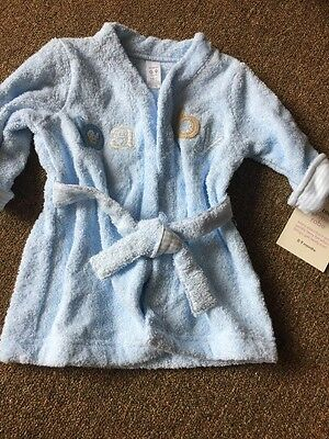 NWT Infant Boys Blue Bath Robe Size 0-9M BABY COTTON TERRY NWT NEW CARTERS
