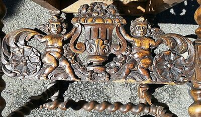 Antique carving pediment  cherubs  fantastic detail walnut