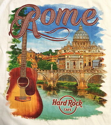 Hard Rock Cafe ROME VATICAN ITALY 2016 City Tee T-SHIRT Mens White XL New w/Tags