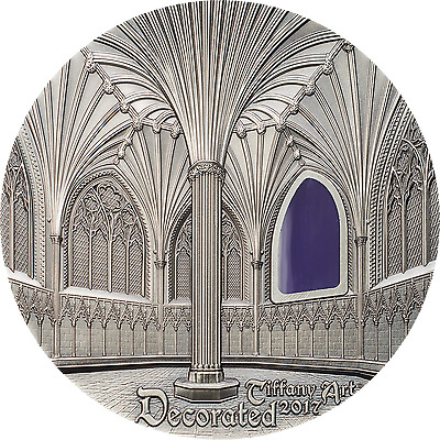 2017 2 oz Silver Coin TIFFANY ART WELLS CATHEDRAL Decorated Palau $10