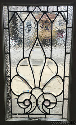 "Antique Victorian 1890's  Beveled & Jeweled  Leaded Glass Window  33"" by 18"""