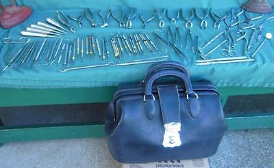1950's Doctors Dr Travel Nurse Medical Bag Satchel W/ Tools Instruments Dental