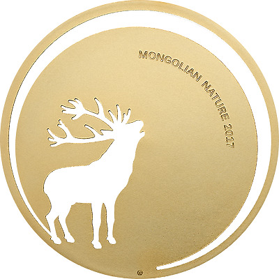 2017 MONGOLIAN NATURE Roaring Deer 500 Togrog Silver Coin Mongolia Gold Gilded
