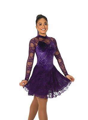 New Competition Figure Skating Dress 122 Purple Lace Silver AM Medium