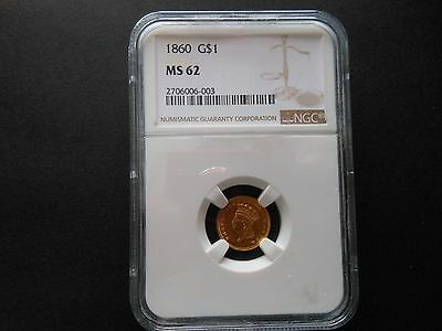 1860 Gold Dollar Ngc Ms62