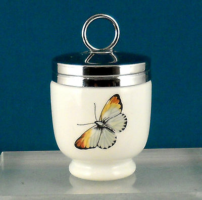 """Royal Worcester Porcelain Egg Coddler Butterfly & A Red Berry 2 1/2"""""""
