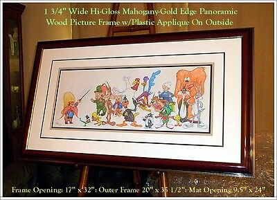 FRAMED SIGNED COA Virgil Ross Panoramic Original Color Drawing Looney Tunes Cast