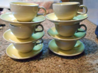 12  vintage Harkerware Stoneware Ovenproof Yellow Gray Coffee Cups and Saucers