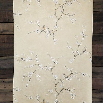 YORK Bird and Blossom Silver Gray Gold French Farmhouse Floral Wallpaper HP0325
