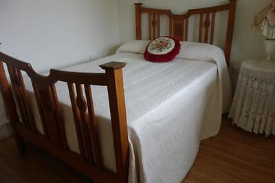 French Country ~ Huge Queen/King Cream Quilted 'Bianca' Bedspread