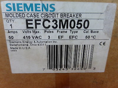 Siemens Efc3M050 *new In Box* Circuit Breaker 3 Pole 50A 415Vdc (23D1)