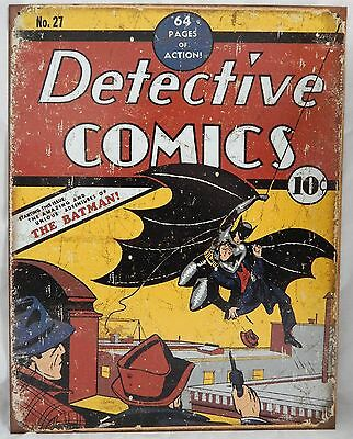 Vintage Replica Tin Metal Sign Batman Detective Comic book 27 hero magazine 1967
