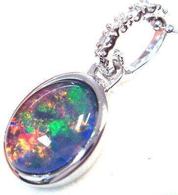 Australian Opal Natural Black Triplet Opal Necklace  Solid 925 Silver