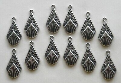 #3471 SMALL ANTIQUED SS/P CELTIC DROP W/TOP HANG RING - 12 Pc Lot