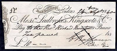 Messrs Ladbrokes, Kingscote & Co, Bank Buildings, London, 1840, cancelled