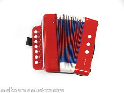 JUNIOR BUTTON/PIANO ACCORDION *7 Treble & 2 Bass Buttons* Red Finish NEW!