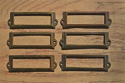 6 antiqued brass file cabinet label holder name plan chest map drawer LH1
