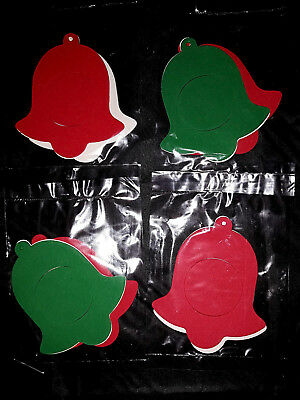 4  x Foam Christmas Bell Photo Frame Ornament With Adhesive Back