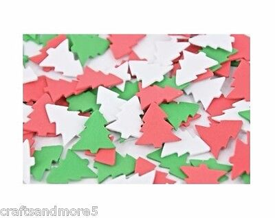 30 Foam Christmas Tree Shapes ~ Red / White / Green
