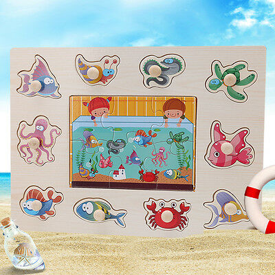 Baby Toddler Wooden Brick Sea Puzzle Toy Intelligence Development Animal Classic