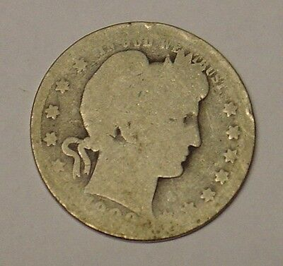 USA 1909O Barber Quarter Dollar. Worn, scarce, Good.