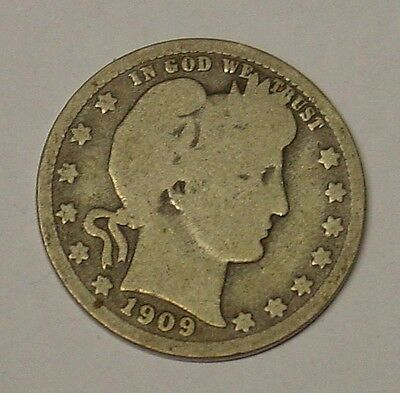 USA 1909S Barber Quarter Dollar. Very Good.