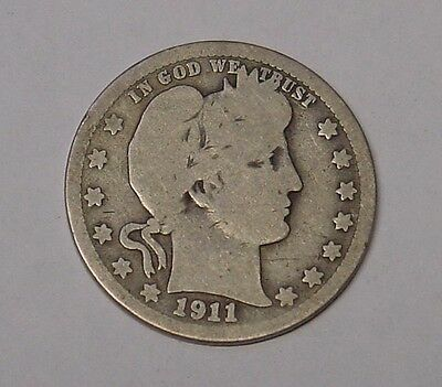 USA 1911 Barber Quarter Dollar. About VG.
