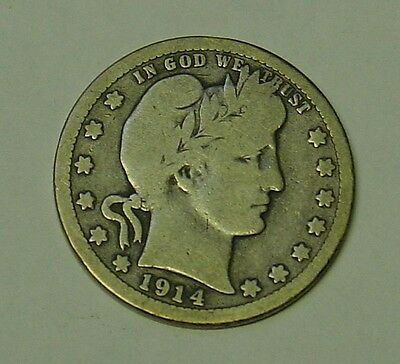 USA 1914D Barber Quarter Dollar. Very Good.