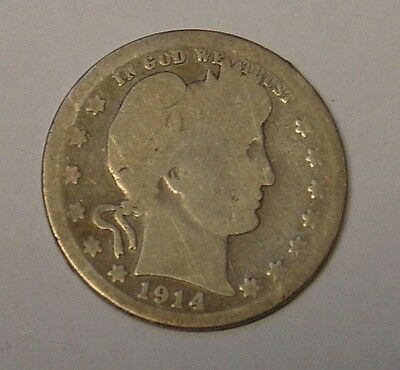 USA 1914S Barber Quarter Dollar. Worn but scarce.