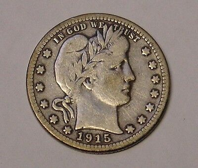 USA 1915S Barber Quarter Dollar. Fine and scarce.