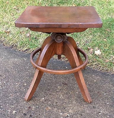 Vtg Oak Bent Wood Swivel Industrial Bank Drafting Stool Chair Adjustable Toledo
