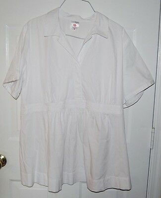 Two Hearts Maternity Short Sleeve Empire Waist Shirt Top Plus Size 3X White