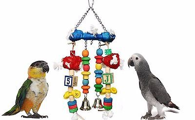 Large 30 Cm Hanging Parrot Cage Toy Coloured Wood & Rawhide With Bells 07009
