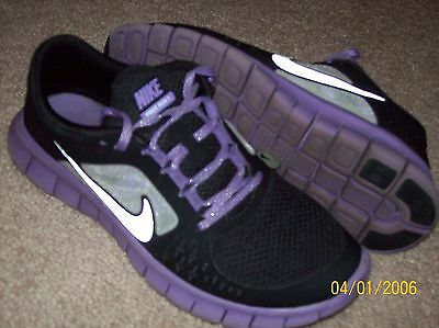 Youth Nike Free Run 3 Purple Black Leather Athletic Shoes Size 6Y