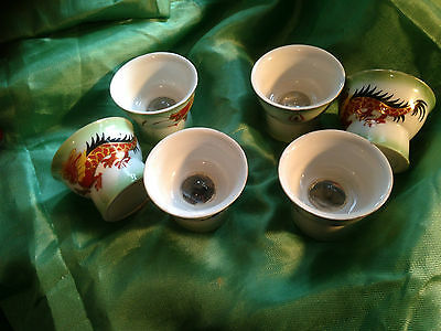 """Japanese saki / sake cups (set of 6)  with """"hidden""""  pictures"""