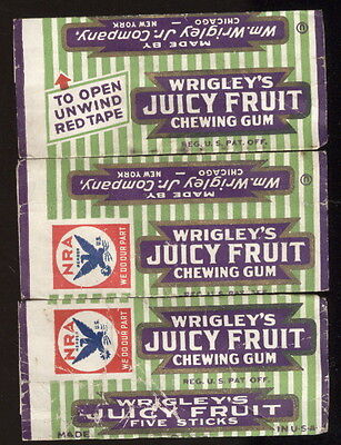 Lot Of 3-1930S Wrigley's Juicy Fruit Chewing Gum Wrappers, National Recovery Act