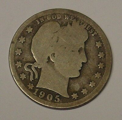 USA 1905 Barber Quarter Dollar, average, scarce.