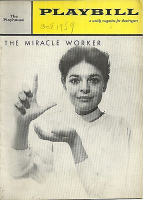 Playbill The Miracle Worker Anne Bancroft Patty Duke The Playhouse Oct 1959 k