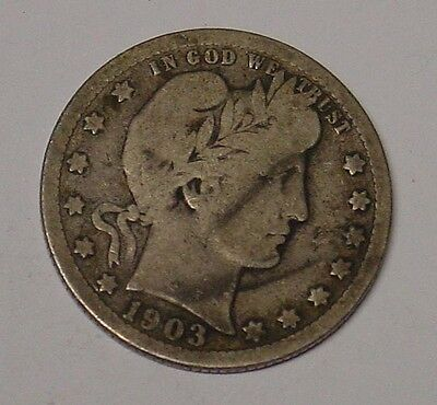 USA 1903 Barber Quarter Dollar, average circulated.