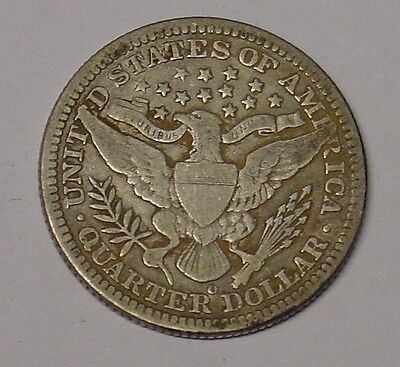 USA 1902O Barber Quarter Dollar, Fine & scarce.