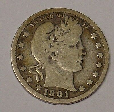 USA 1901 Barber Quarter Dollar, Very Good and scarce.