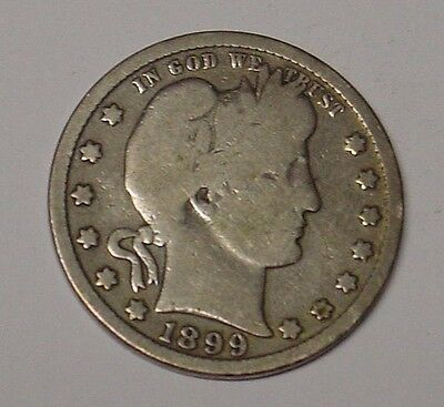 USA 1899S Barber Quarter Dollar, Near Very Good, scarce.