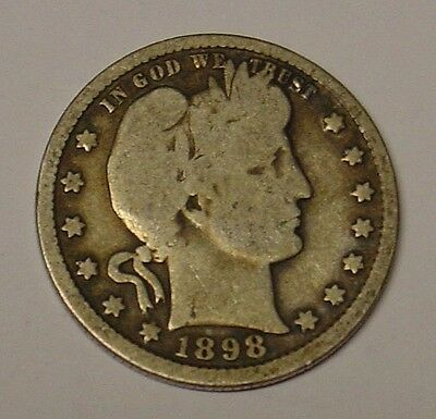USA 1898 Barber Quarter Dollar, Very Good.