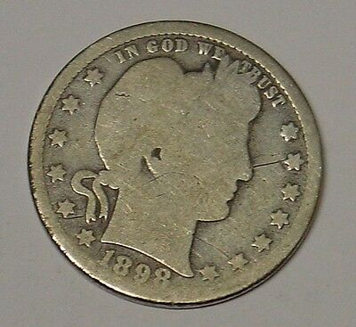 USA 1898 S Barber Quarter Dollar, average circulated.