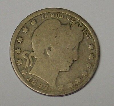 USA 1897 0 Barber Quarter Dollar, average, scarce date.