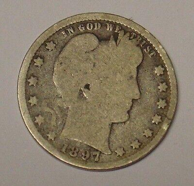 USA 1897 Barber Quarter Dollar, average circulated.