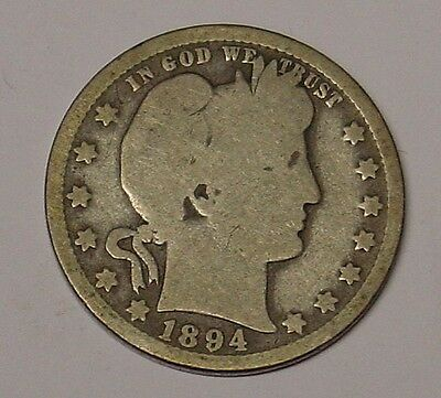 USA 1894 0 Barber Quarter Dollar, average circulated.