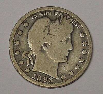 USA 1893 0 Barber Quarter Dollar, VG.