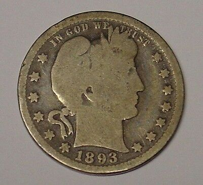 USA 1893  Barber Quarter Dollar, VG.