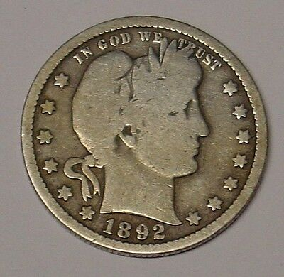 USA 1892S  Barber Quarter Dollar, VG and scarce.